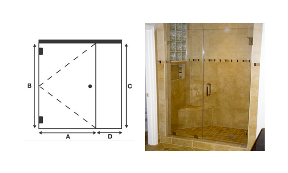Frameless Shower Door with In Line Panel Door