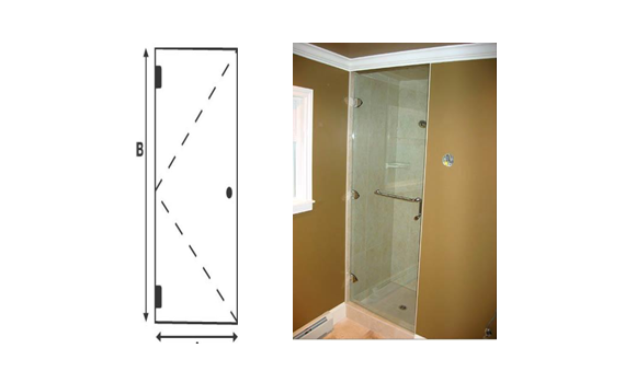 Frameless single Shower Door