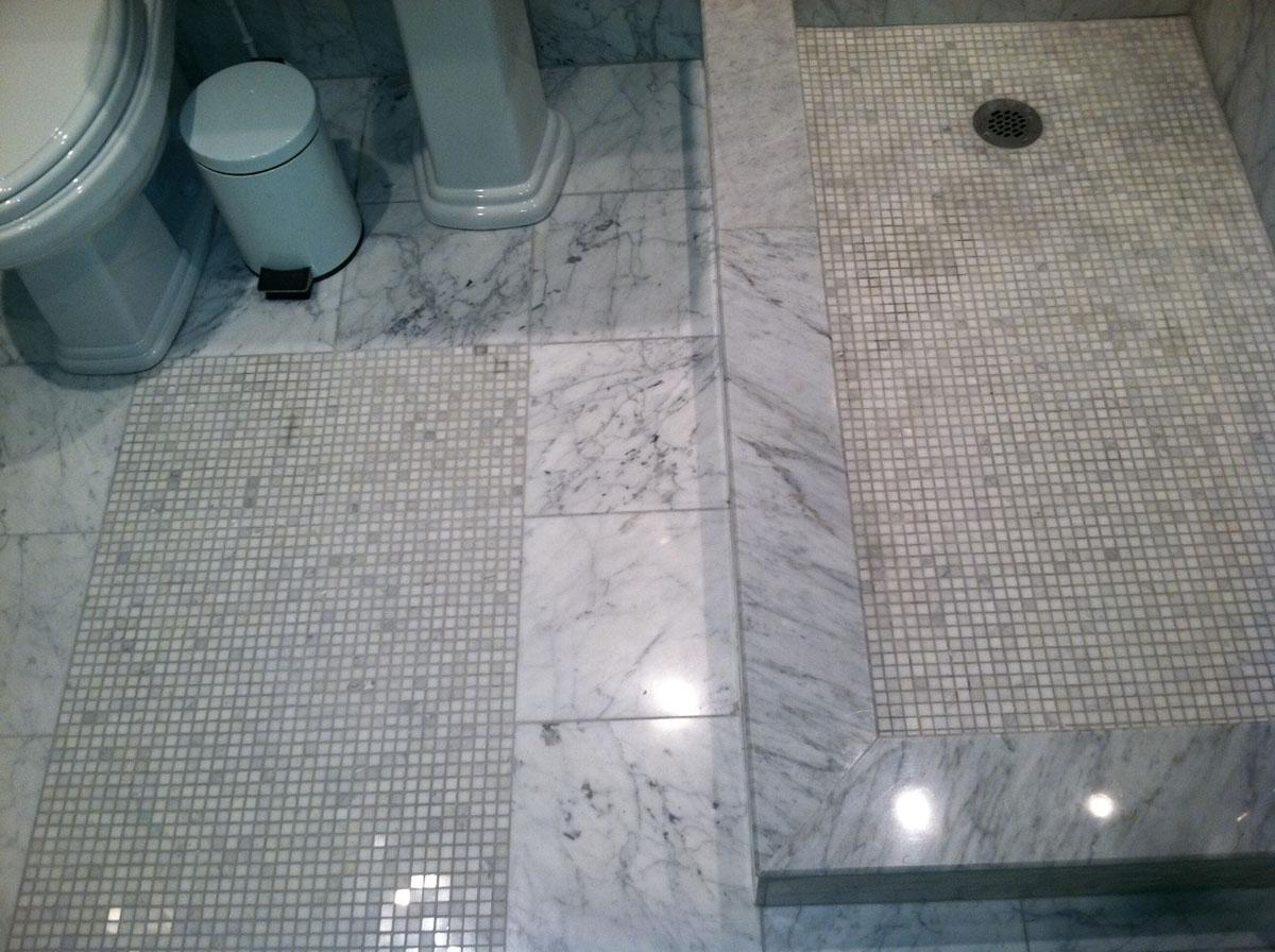 Bathroom 2 Floor and Shower Floor Tile Detail Benton Rd. Somerville After Remodel