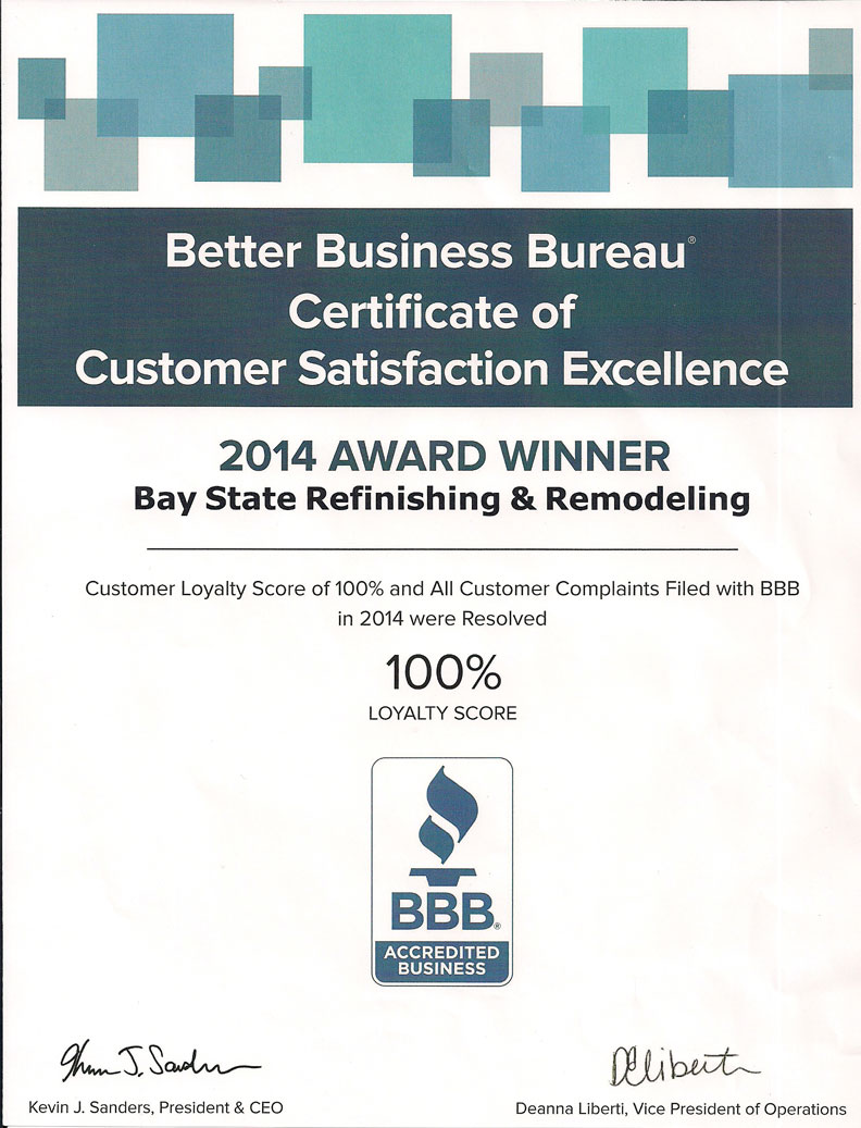 2014 BBB reward of Bay State Refinishing