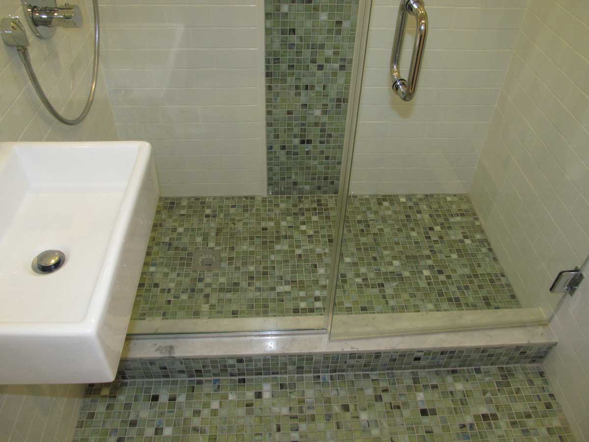 Custom Glass Enclosed Shower After Bathroom Remodel at Appleton St. Boston