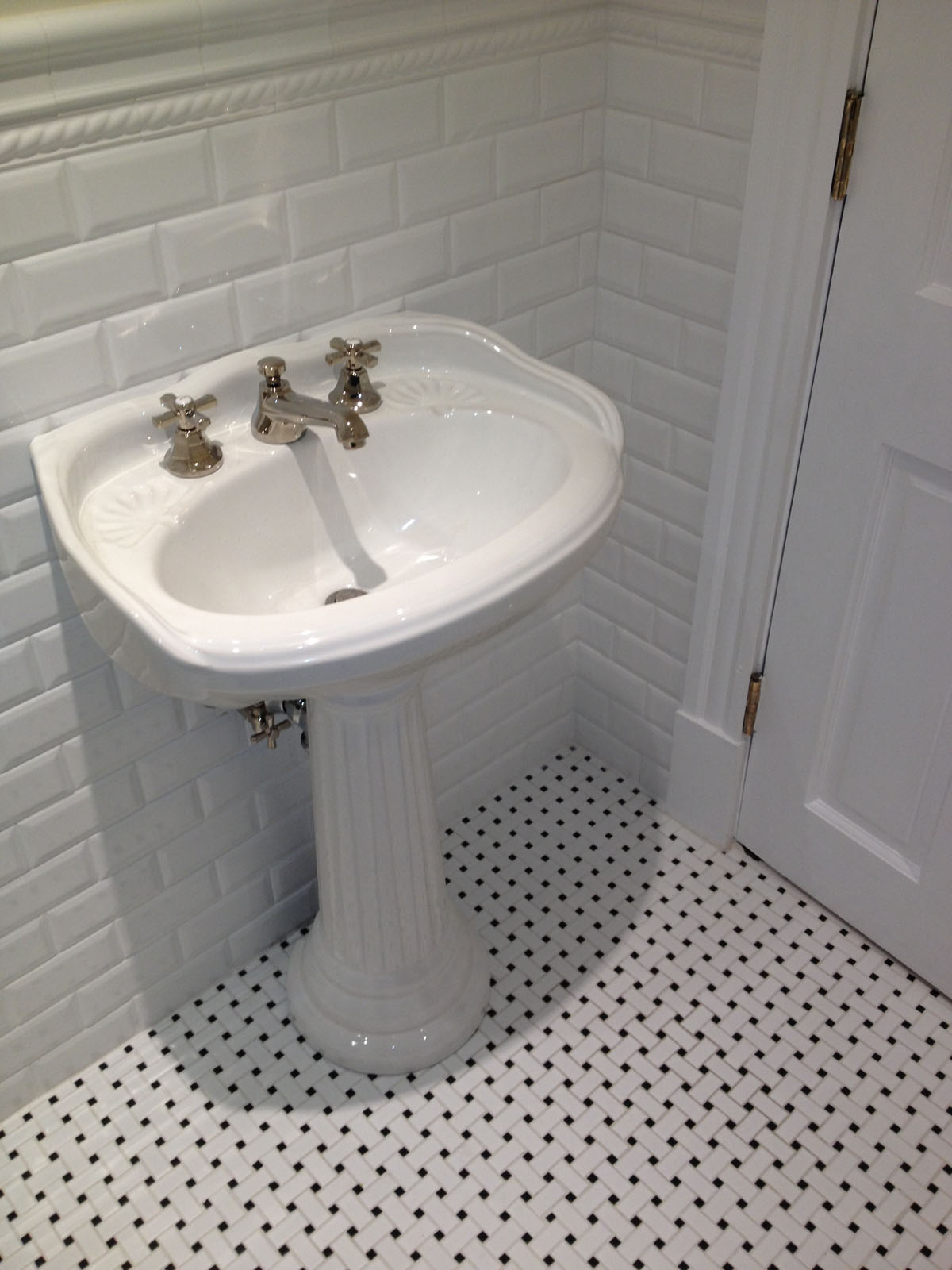 Beacon St. Boston after bathroom remodel showing new pedestal sink
