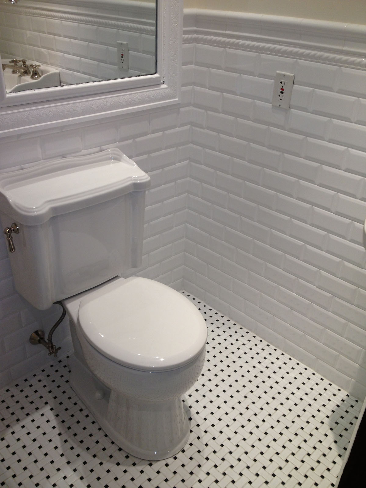 Beacon St. Boston after bathroom remodel showing toilet, floor and faux brick wall tile