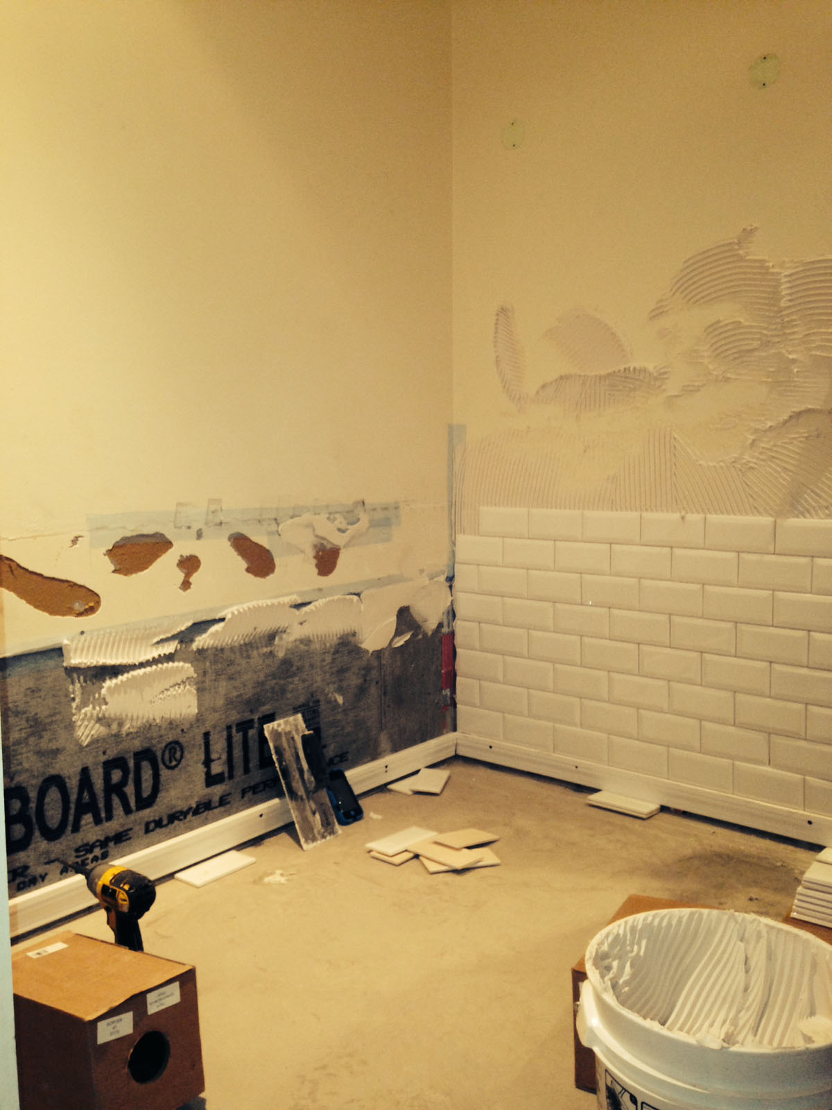 Beacon St. Boston During Bathroom Remodel Showing Installation Of Faux  Brick Wall Tile