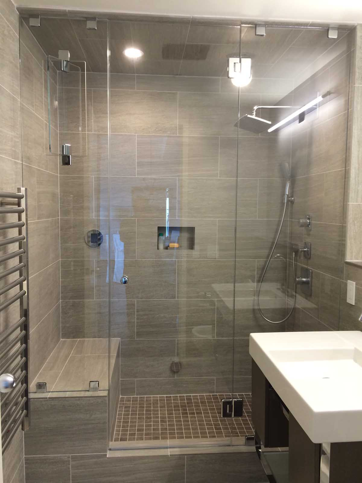 Dorchester ave. Boston - After Bathroom Remodel with High End Tiled Steam Shower