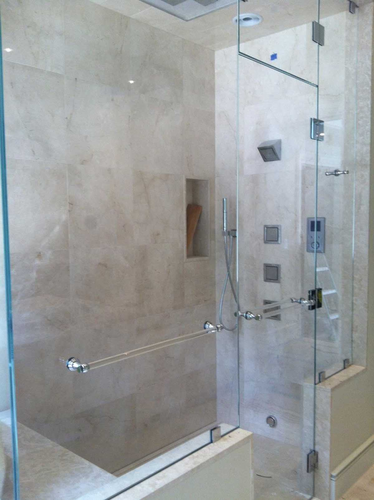 Luxurious remote control shower remodel newton bay state for Fully enclosed shower