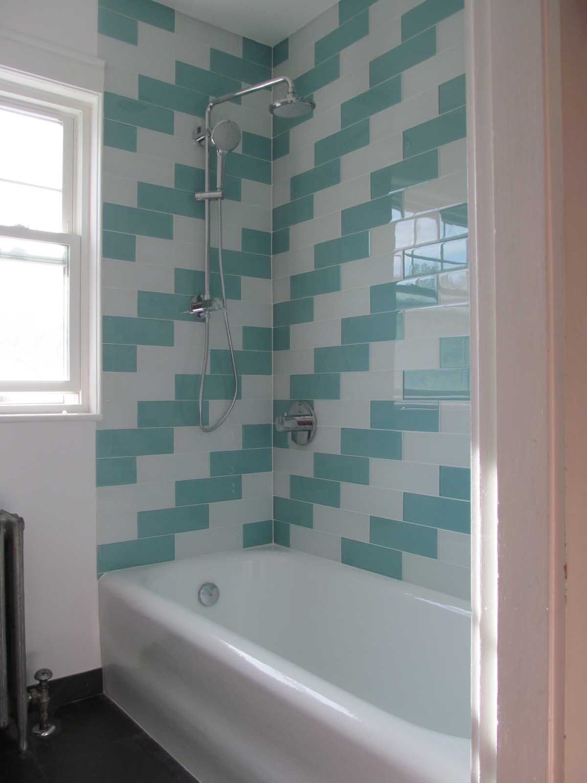 Herringbone Tile Surround in Remodeled Tub - Shower Walls at Summit Ave. Brookline