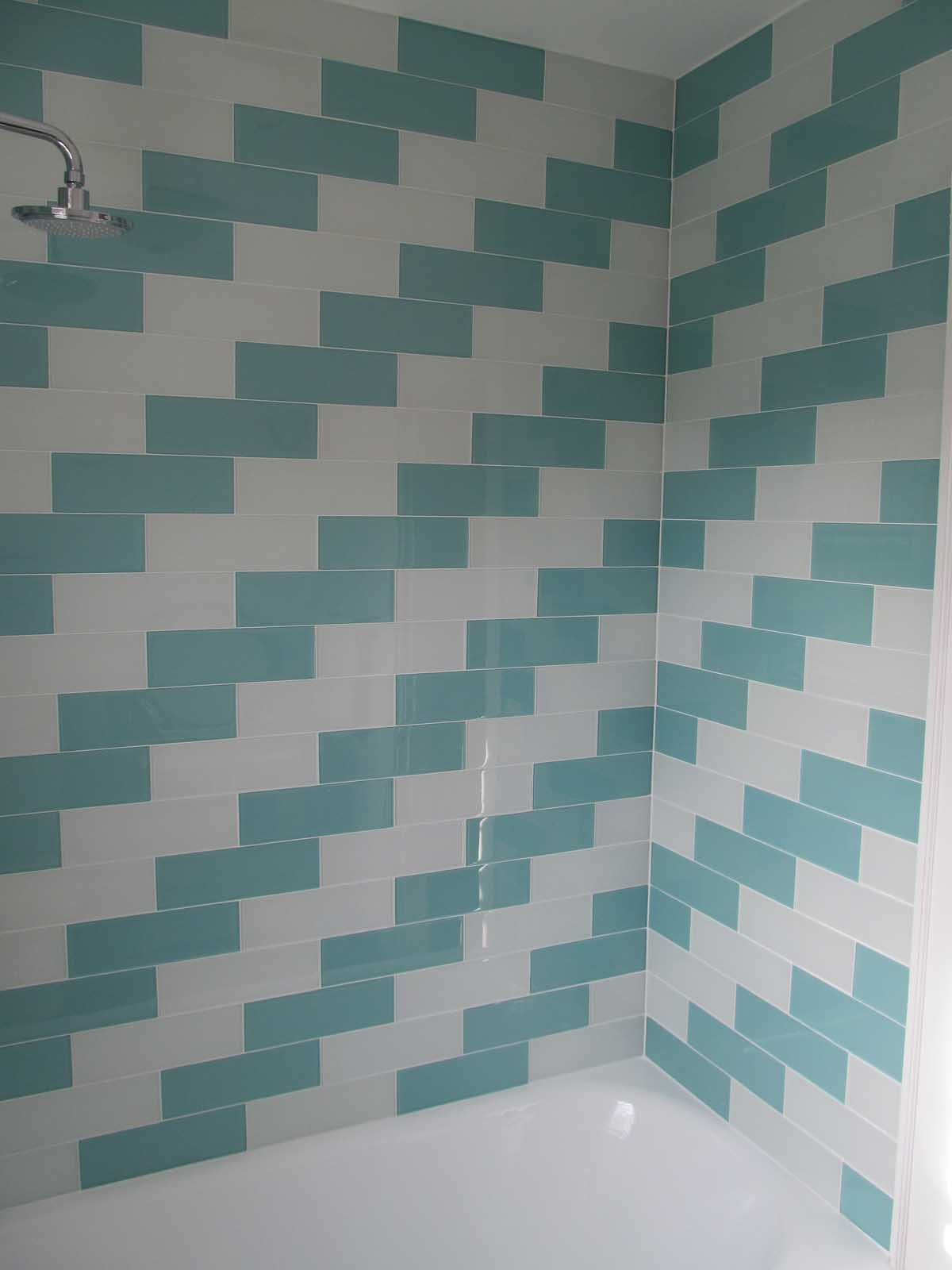 Herringbone Tile Detail After Bathroom Renovation at Summit Ave. Brookline 2