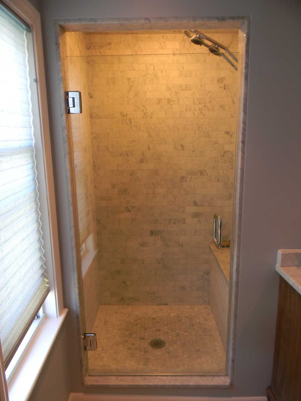 Winter St. Medford after - view of newly tiled walk-in shower