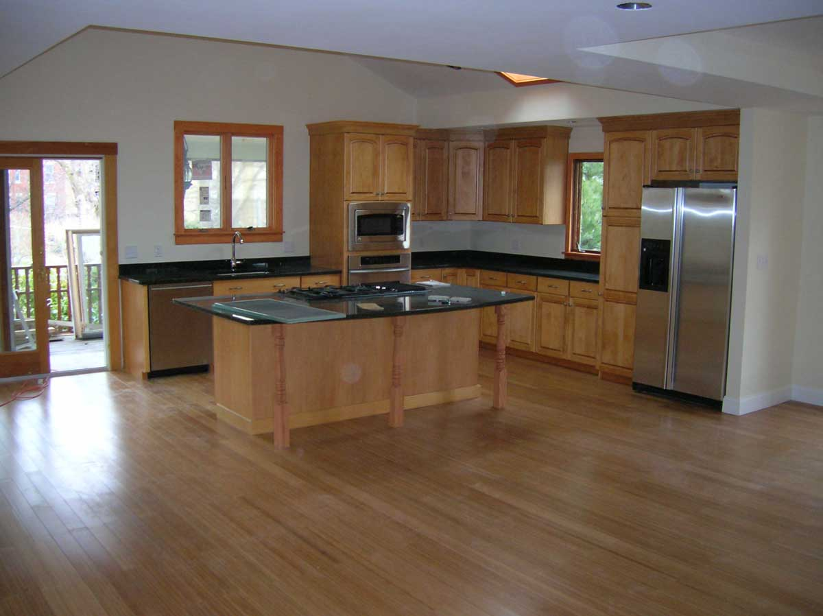 Remodeled kitchen with island - Tappan St Brookline