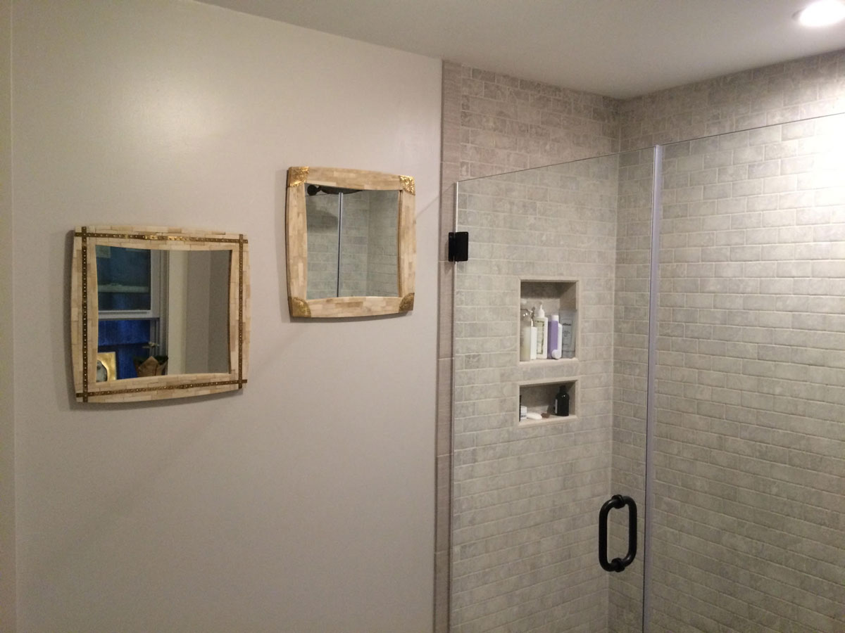 Tile Shower Surround with Glass Doors - Fresh and Clean Bathroom Remodel - Green Street Charlestown