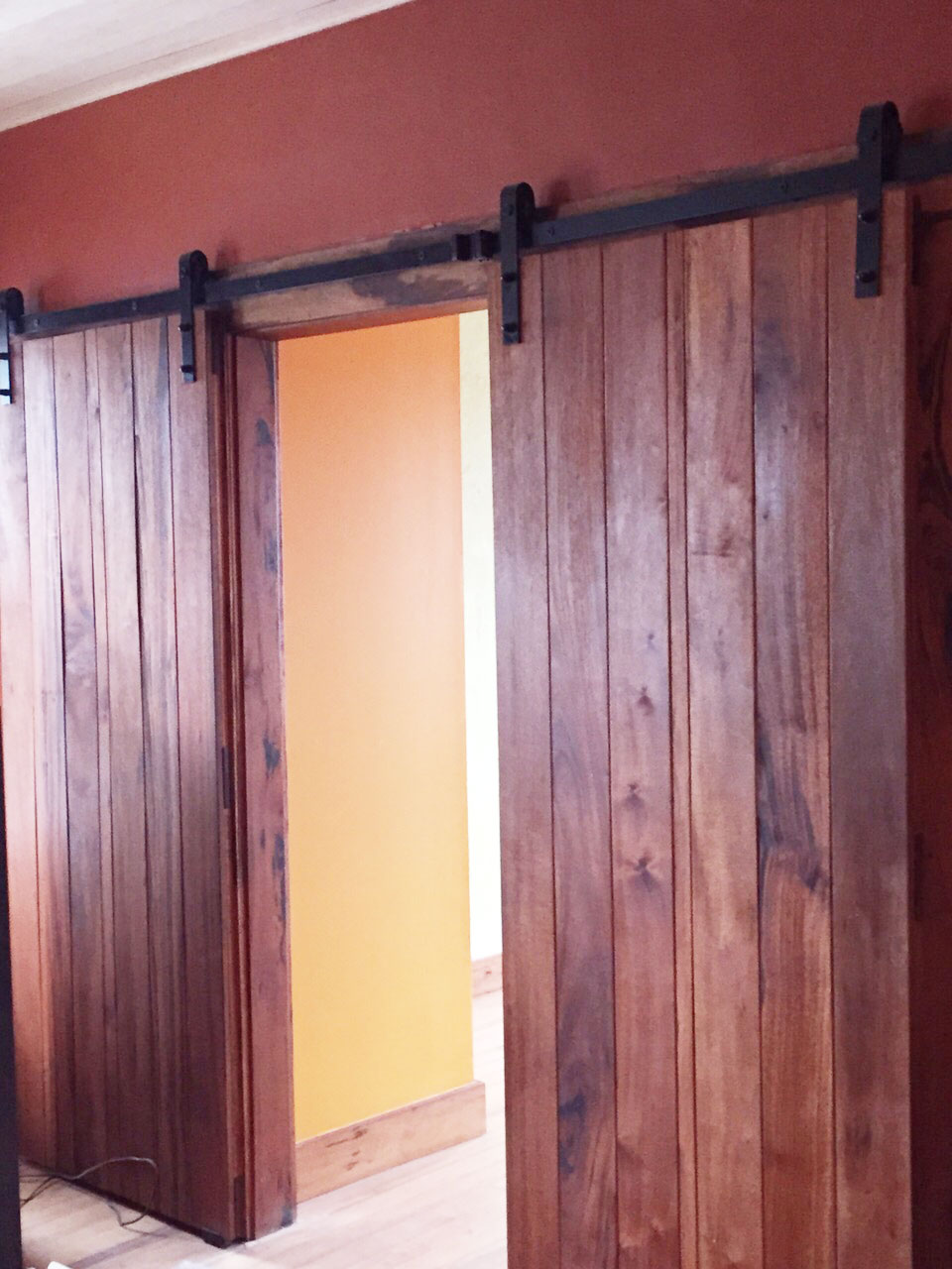 Wood Barn Style Sliding Doors Rustic Bathroom Remodel By Bay State Refinishing Remodeling