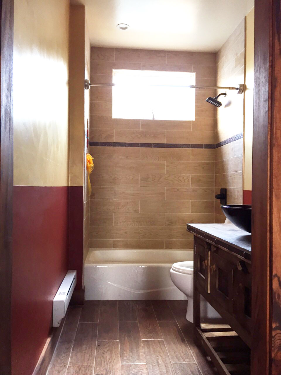 Forest hills bathroom remodel bay state refinishing remodeling large wood pattern ceramic tiles floor shower surround rustic bathroom remodel dailygadgetfo Images