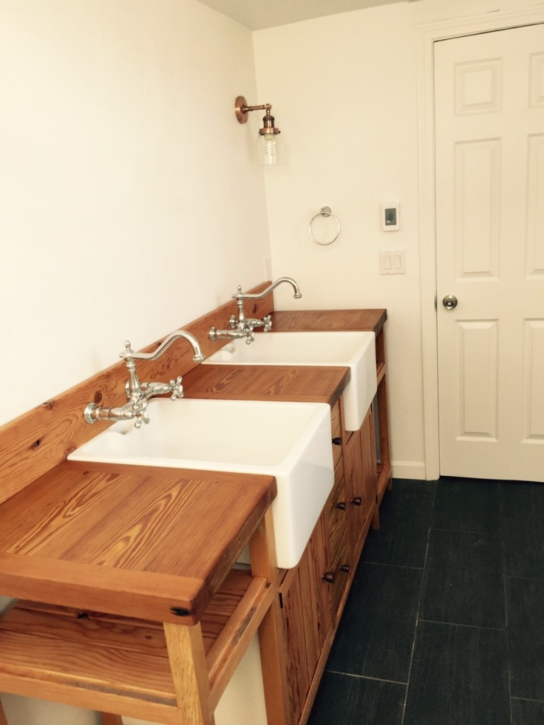 Custom Rustic Pine Vanity - Bathroom Renovation - Shawmut Ave Boston