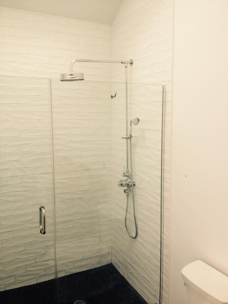 Walk-in Shower with Textured Tile Surround - Shawmut Ave Boston
