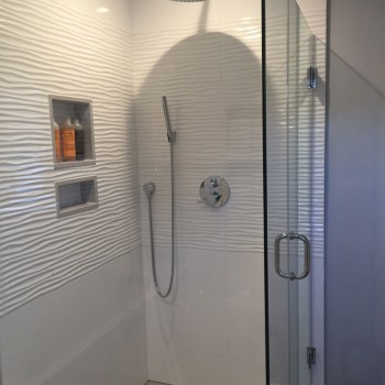 walk-in glass-enclosed shower - bathroom remodel - Wellesley MA