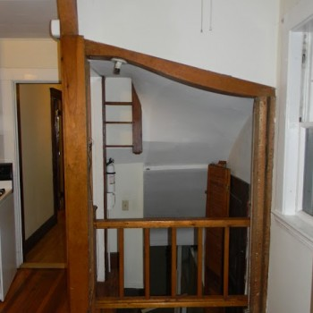 Another view of the rear entrance area of the Brookline kitchen before remodeling