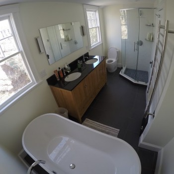 Overview of Brookline bathroom remodel