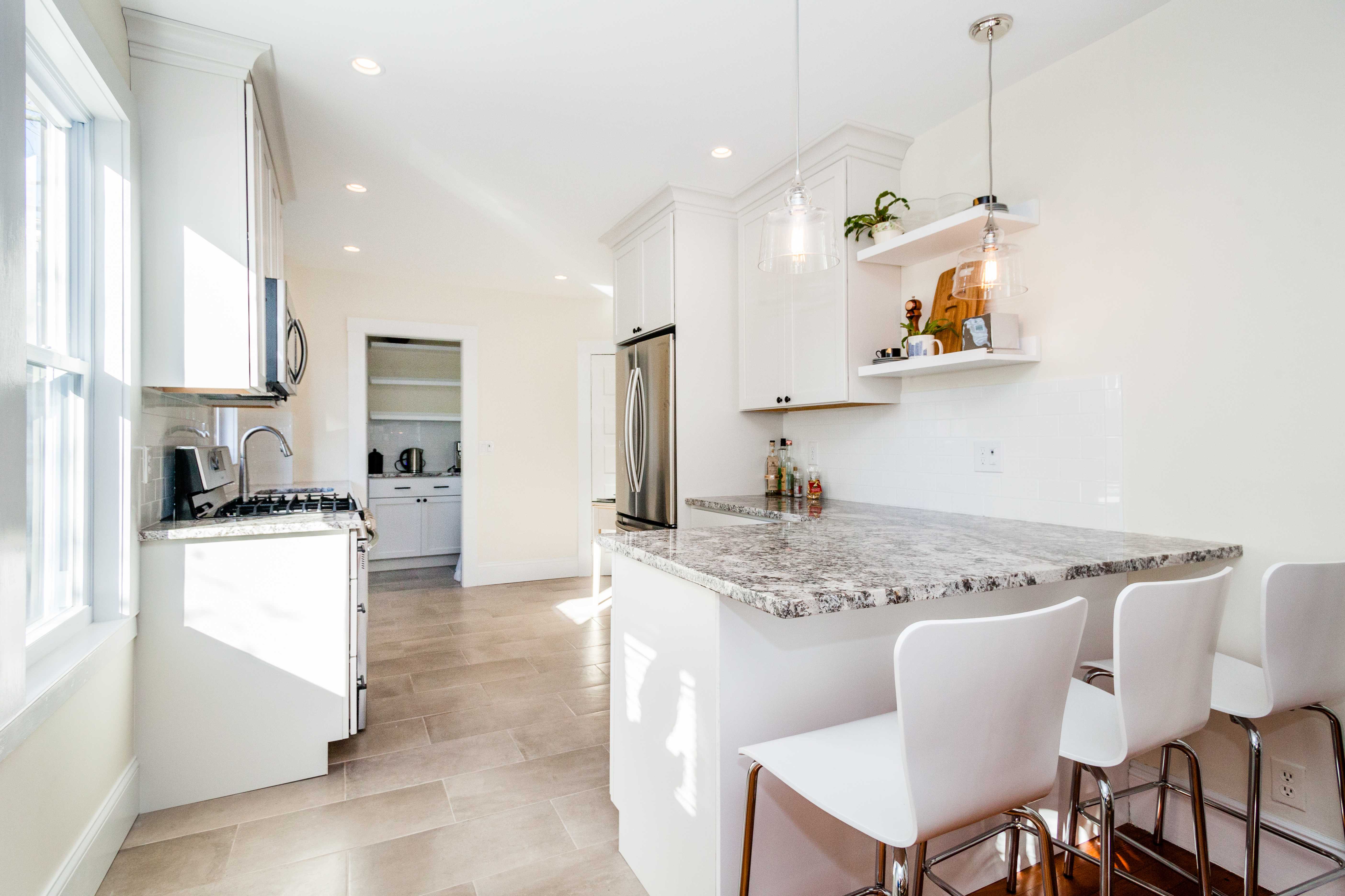 Clean sophisticated kitchen remodel Arlington MA